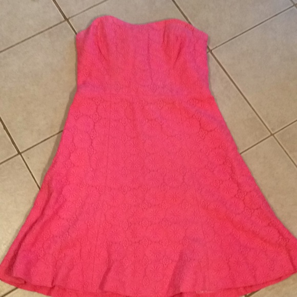 Lilly Pulitzer Pink Floral Lace Strapless Dress